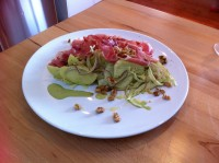 Fennel and apple salad with basil mayonnaise and walnuts