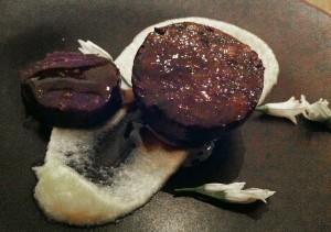 Black Pudding with Garlic Flowers - Merricote
