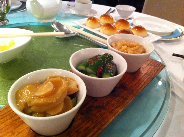 Appetisers - Abalone, Spicy Cucumber, Jellyfish, Pork buns