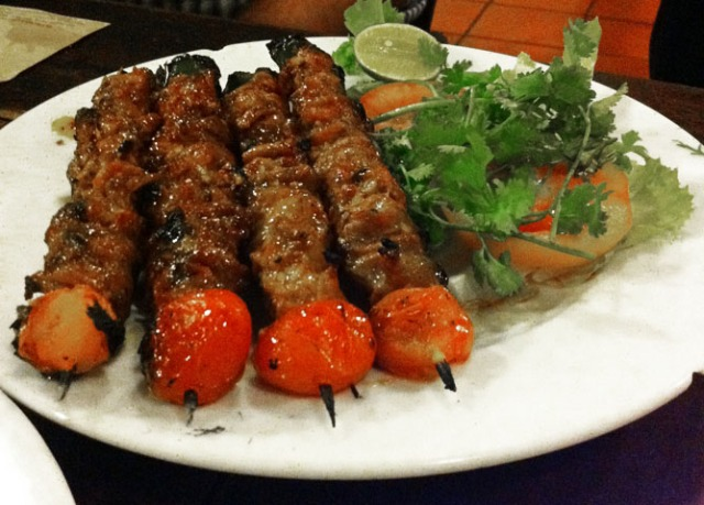 BBQ beef on a skewer