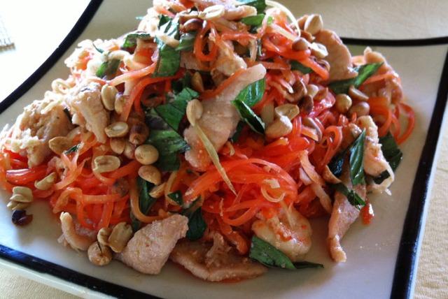 Papaya salad at our homestay in the Mekong
