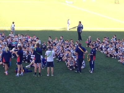 A real case of Where's Wally.. An avid Geelong Cats supporter, Harvey is one of around 800 kids at this clinic